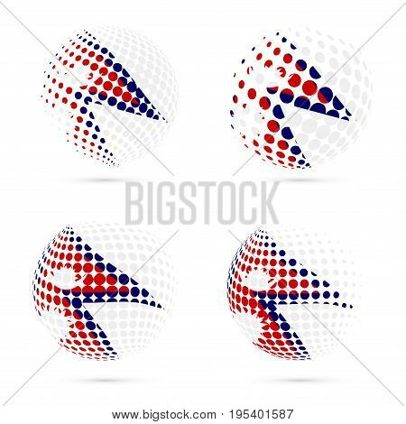 Nepal Halftone Flag Set Patriotic Vector Design. 3D Halftone Sphere In Nepal National Flag Colors Is