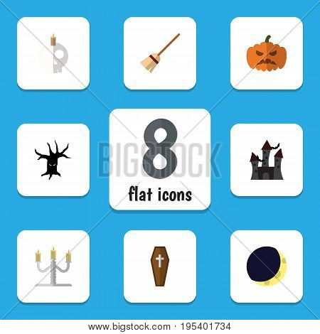 Flat Icon Festival Set Of Broom, Candlestick, Cranium Vector Objects. Also Includes Dead, Moon, Broom Elements.