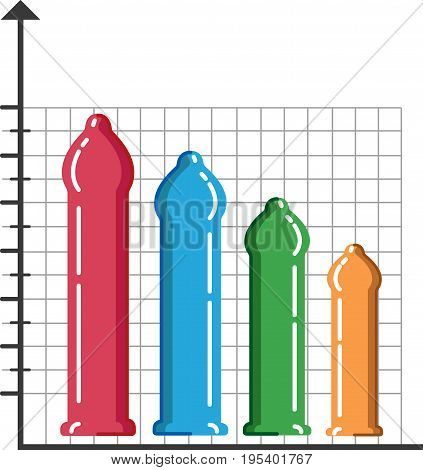 different size of penises such as small medium large and extra large, Vector colorful chart displays , isolated on white background