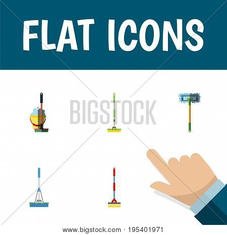 Flat Icon Cleaner Set Of Mop, Equipment, Cleaning And Other Vector Objects. Also Includes Equipment, Broom, Bucket Elements.