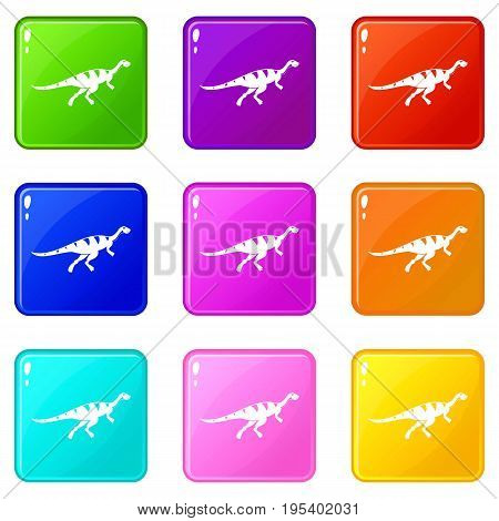 Gallimimus dinosaur icons of 9 color set isolated vector illustration
