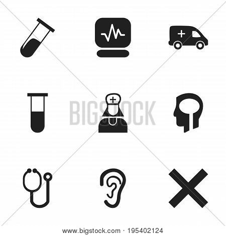 Set Of 9 Editable Hospital Icons. Includes Symbols Such As Emergency, Doctor Tool, Intelligence And More. Can Be Used For Web, Mobile, UI And Infographic Design.