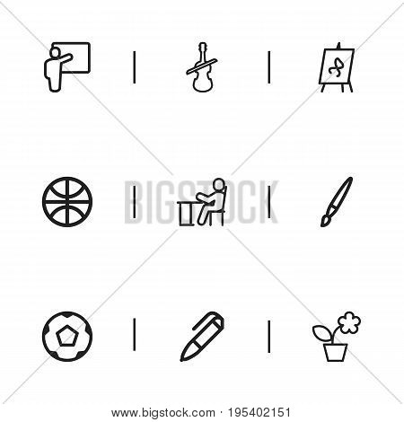 Set Of 9 Editable Science Icons. Includes Symbols Such As Sport, Student, Ball And More. Can Be Used For Web, Mobile, UI And Infographic Design.