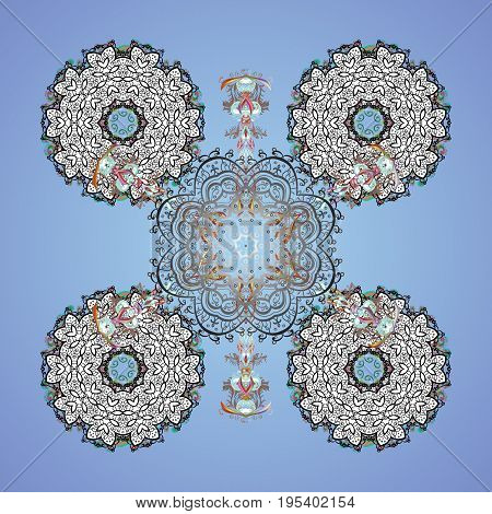 Vector snowflakes winter New Year frame. Colorful pattern on colors background.