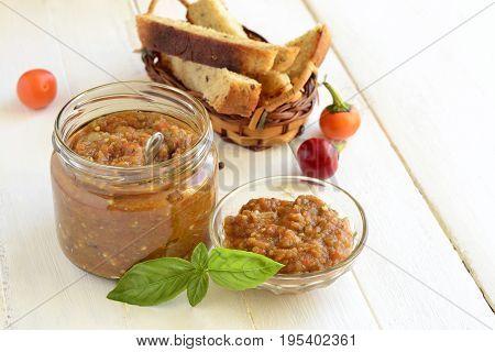 Ajvar roasted sweet pepper and eggplant (aubergine) with toast