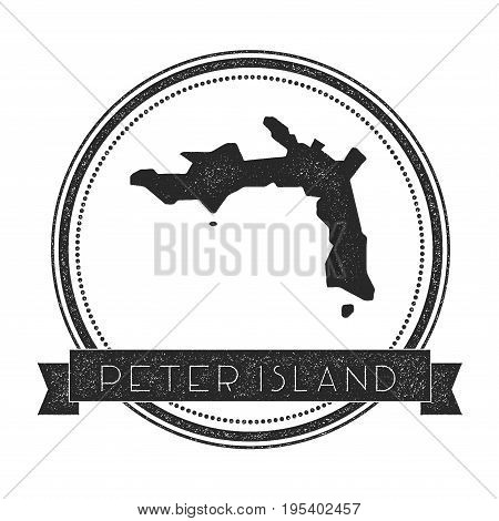 Peter Island Map Stamp. Retro Distressed Insignia. Hipster Round Badge With Text Banner. Island Vect