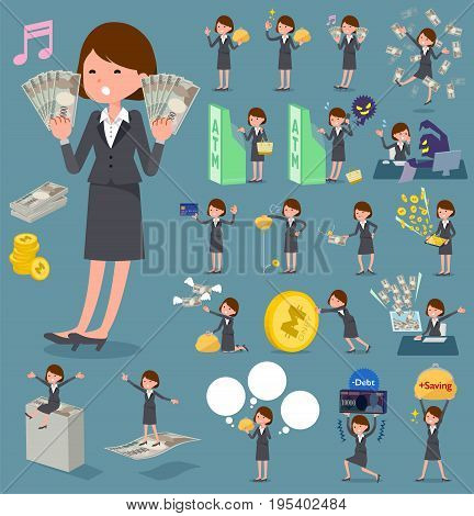 Set of various poses of flat type Gray suit business woman_money