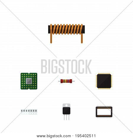 Flat Icon Technology Set Of Bobbin, Cpu, Memory And Other Vector Objects. Also Includes Motherboard, Cpu, Microprocessor Elements.