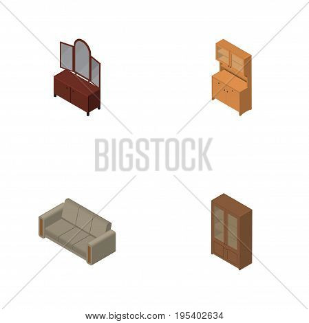 Isometric Furniture Set Of Cupboard, Couch, Drawer And Other Vector Objects. Also Includes Wardrobe, Locker, Cupboard Elements.