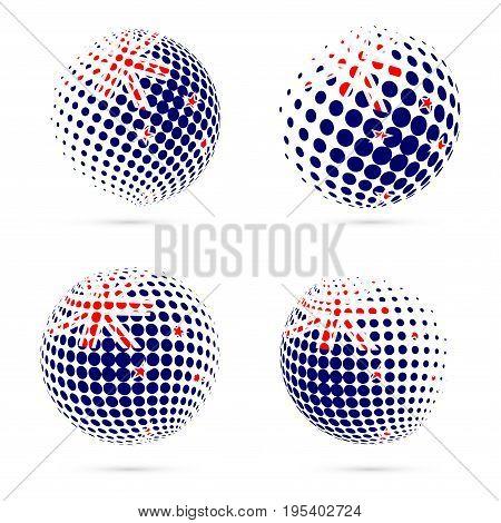 New Zealand Halftone Flag Set Patriotic Vector Design. 3D Halftone Sphere In New Zealand National Fl