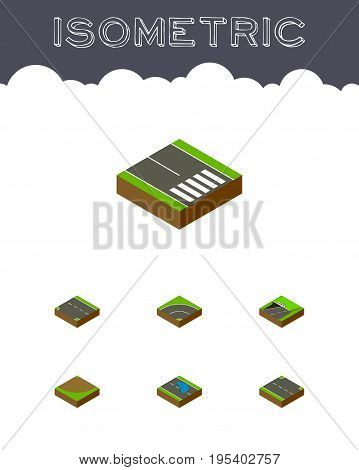 Isometric Way Set Of Plash, Subway, Turn And Other Vector Objects. Also Includes Down, Puddle, Underground Elements.