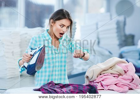 Woman In Shock While Ironing