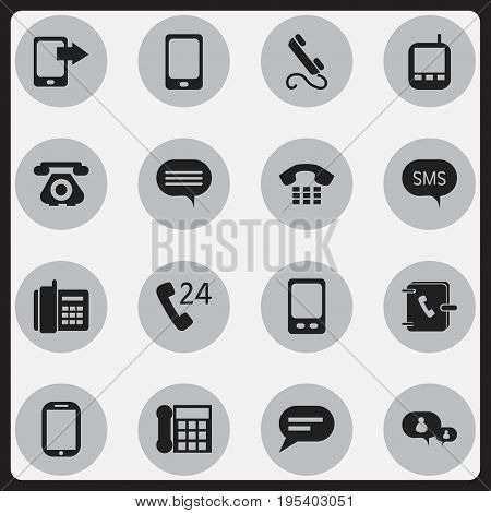 Set Of 16 Editable Gadget Icons. Includes Symbols Such As Smartphone, Home Cellphone, Chatting And More. Can Be Used For Web, Mobile, UI And Infographic Design.