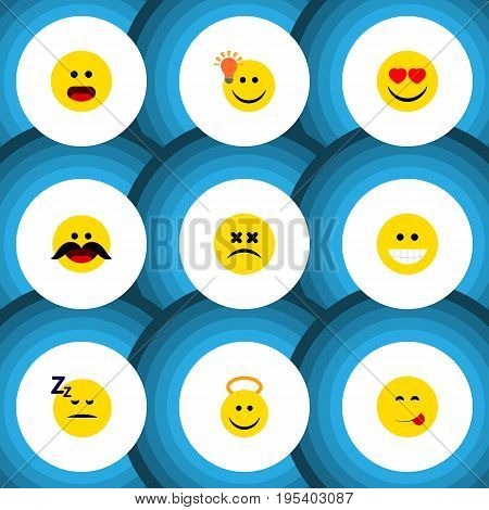 Flat Icon Expression Set Of Angel, Delicious Food, Cheerful And Other Vector Objects. Also Includes Asleep, Sleeping, Savoring Elements.