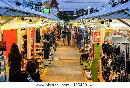 Khonkean Thailand - April 2 2017 :Night market at Ton tan market Khonkean Thailand