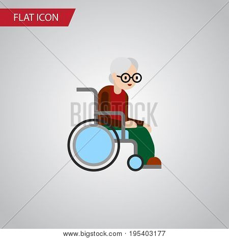 Isolated Handicapped Man Flat Icon. Wheelchair Vector Element Can Be Used For Wheelchair, Handicapped, Man Design Concept.