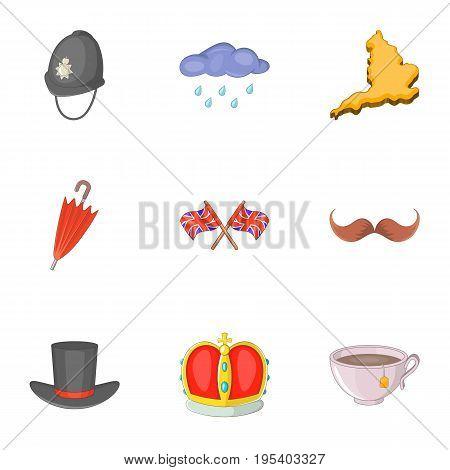 United Kingdom map icons set. Cartoon set of 9 United Kingdom map vector icons for web isolated on white background