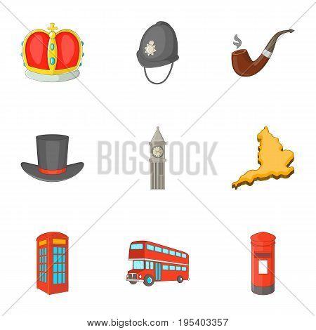 United Kingdom sights icons set. Cartoon set of 9 United Kingdom sights vector icons for web isolated on white background