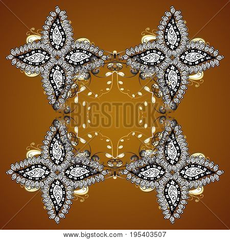 Hand painted pattern. Vector seamless pattern with abstract hand drawn snowflakes design on a brown background.