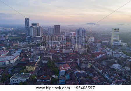 Arial View Of Malacca City During Sunrise.