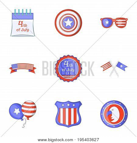 Freedom day icons set. Cartoon set of 9 freedom day vector icons for web isolated on white background