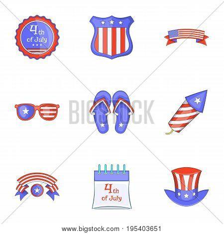 Independence day badge icons set. Cartoon set of 9 independence day badge vector icons for web isolated on white background