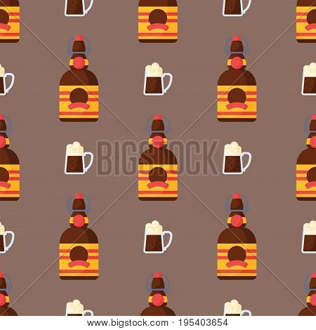 Alcohol drinks seamless pattern beverages cocktail bottle lager refreshment container and menu drunk concept glasses vector illustration. Restaurant tequila rum party pub cognac.