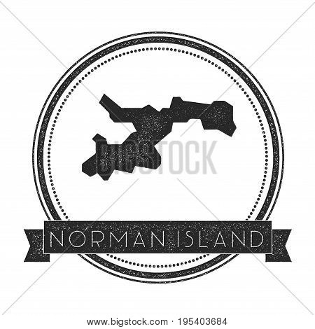 Norman Island Map Stamp. Retro Distressed Insignia. Hipster Round Badge With Text Banner. Island Vec