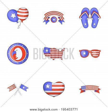USA day icons set. Cartoon set of 9 USA day vector icons for web isolated on white background