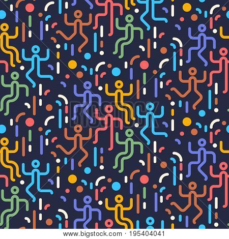 Geometric Abstract Seamless Pattern. People Dancing Party. Simple Motif Background. Colorful Decorat