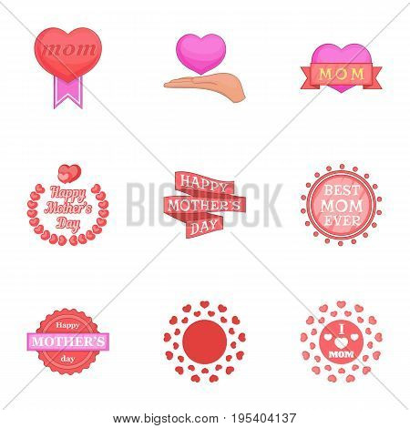 Happy mama day icons set. Cartoon set of 9 happy mama day vector icons for web isolated on white background