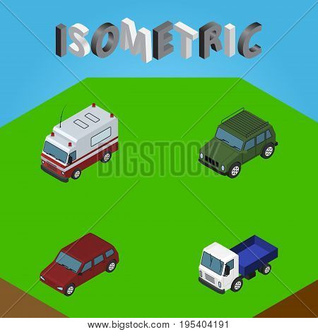 Isometric Automobile Set Of First-Aid, Car, Lorry And Other Vector Objects. Also Includes Aid, Drive, Transport Elements.
