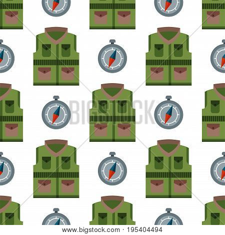 Bulletproof vest seamless pattern background police bodyguard army uniform vector illustration. Armor equipment body crime military kevlar protection.