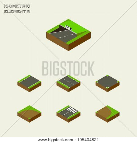 Isometric Way Set Of Crossroad, Rotation, Sand Vector Objects. Also Includes Road, Underground, Footer Elements.