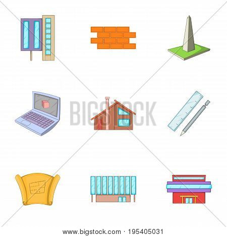 Building plan icons set. Cartoon set of 9 building plan vector icons for web isolated on white background