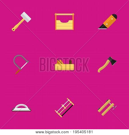 Set Of 9 Editable Equipment Icons. Includes Symbols Such As Instruments, Knife, Emery Paper And More. Can Be Used For Web, Mobile, UI And Infographic Design.