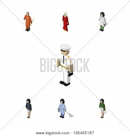 Isometric Human Set Of Doctor, Seaman, Cleaner And Other Vector Objects. Also Includes Builder, Pedagogue, Laborer Elements.