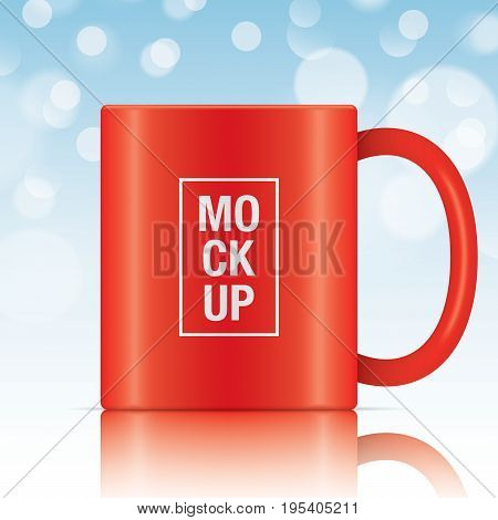 Red vector coffee mug template isolated on a blue bokeh background. Vector mug mockup for your design.