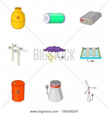 Types of electricity icons set. Cartoon set of 9 types of electricity vector icons for web isolated on white background