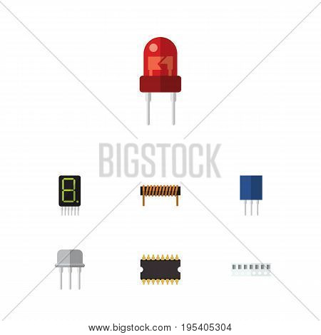 Flat Icon Electronics Set Of Bobbin, Recipient, Resist And Other Vector Objects. Also Includes Memory, Unit, Transistor Elements.