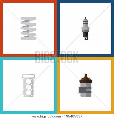 Flat Icon Parts Set Of Spare Parts, Absorber, Crankshaft And Other Vector Objects. Also Includes Combustion, Car, Plug Elements.