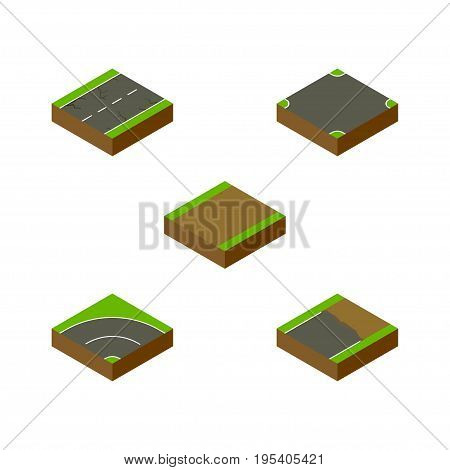 Isometric Road Set Of Cracks, Unfinished, Bitumen And Other Vector Objects. Also Includes Incomplete, Footpath, Asphalt Elements.