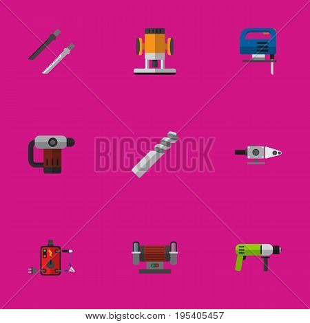 Set Of 9 Editable Instruments Icons. Includes Symbols Such As Borer, Inserting Nails, Jig Saw And More. Can Be Used For Web, Mobile, UI And Infographic Design.