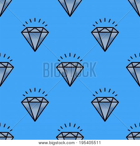 Traditional brilliant jewellery seamless pattern diamond luxury precious gold jewelery vector illustration. Fashion treasure decoration beautiful glamour fine minute accessory