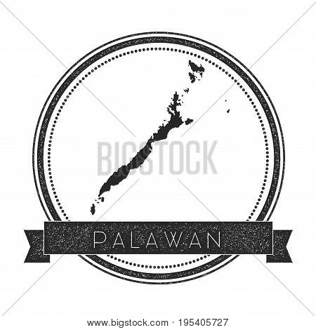 Palawan Map Stamp. Retro Distressed Insignia. Hipster Round Badge With Text Banner. Island Vector Il