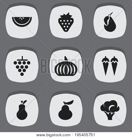 Set Of 9 Editable Dessert Icons. Includes Symbols Such As Duchess, Berry, Cluster And More. Can Be Used For Web, Mobile, UI And Infographic Design.