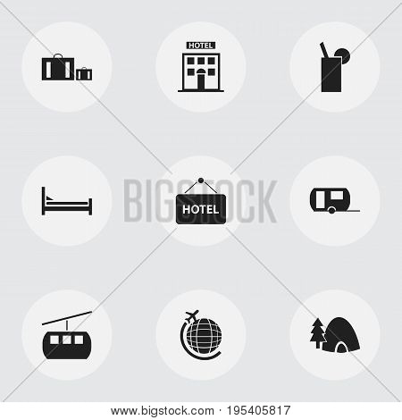 Set Of 9 Editable Trip Icons. Includes Symbols Such As Lemonade, Mattress, Welcome Board And More. Can Be Used For Web, Mobile, UI And Infographic Design.