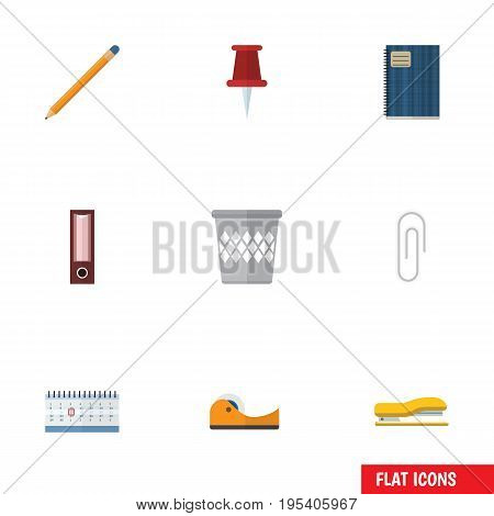 Flat Icon Stationery Set Of Trashcan, Dossier, Fastener Page And Other Vector Objects. Also Includes Dossier, Calendar, Almanac Elements.