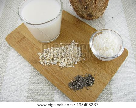 Rice coconut milk with rolled oats and chia seeds