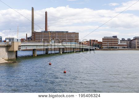 Bridge over water to Helsinki capital of Finland.